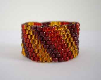 Peyote ring, Woven ring, Seed bead ring, Beaded ring, Beadwork ring, Red, Choco brown and Hyacinth, Size US 8.5