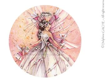 Miroir de poche thème féerique - La mariée - Illustration Delphine GACHE