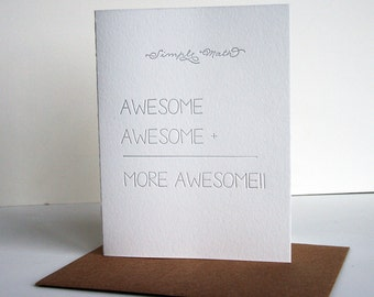 SALE Letterpress Congratulations Card - Simple Math - More Awesome