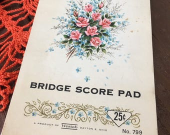 Vintage Bridge Score Book Blank Game Dinner Party Book