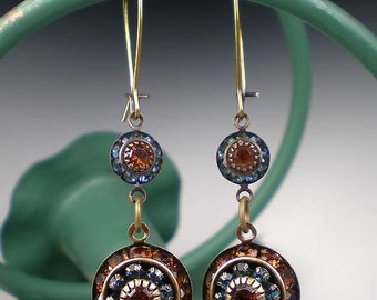 Blue & Brown Rhinestone Earrings Montana Blue Dark Topaz Rhinestone Drop Earrings