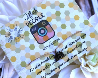 I Flash People With My Camera Wish Bracelet, Photographer Jewelry, Photographer Gifts, Camera Bracelet, Wish Upon You Wrist, Picture Gifts