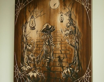 Carved Wooden Wall Art. Witch and Cat