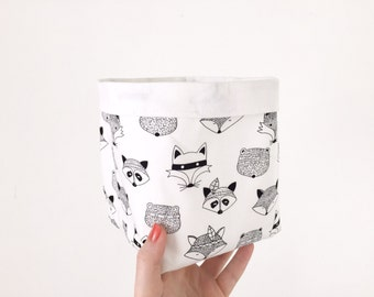 Large Monochrome Fabric Storage Basket
