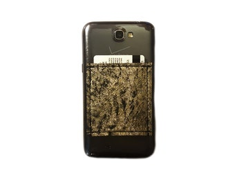 Phone Pocket / Sticky Wallet ID Case / Distressed Metallic Leather Black Gold Silver / Adhesive card holder - Italian Leather