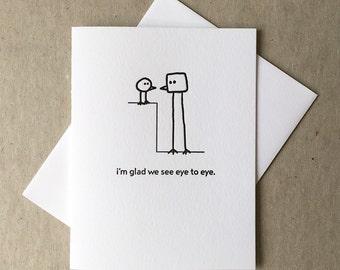 Letterpress eye-to-eye bird card (#BRD002)