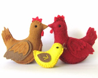 Easter DIY Henrietta the Hen and her baby chicken - pdf Pattern and Instructions --INSTANT DOWNLOAD--