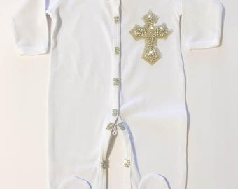 baby gown /baptism boy outfit/pijama for baptism/christening crystal pijama/