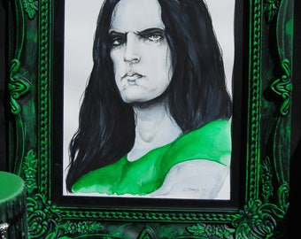 ORIGINAL Framed Peter Steele Watercolour Painting Type O Negative with Hand painted Frame