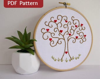 Heart of Hearts Tree PDF Embroidery Pattern and printable template full instructions