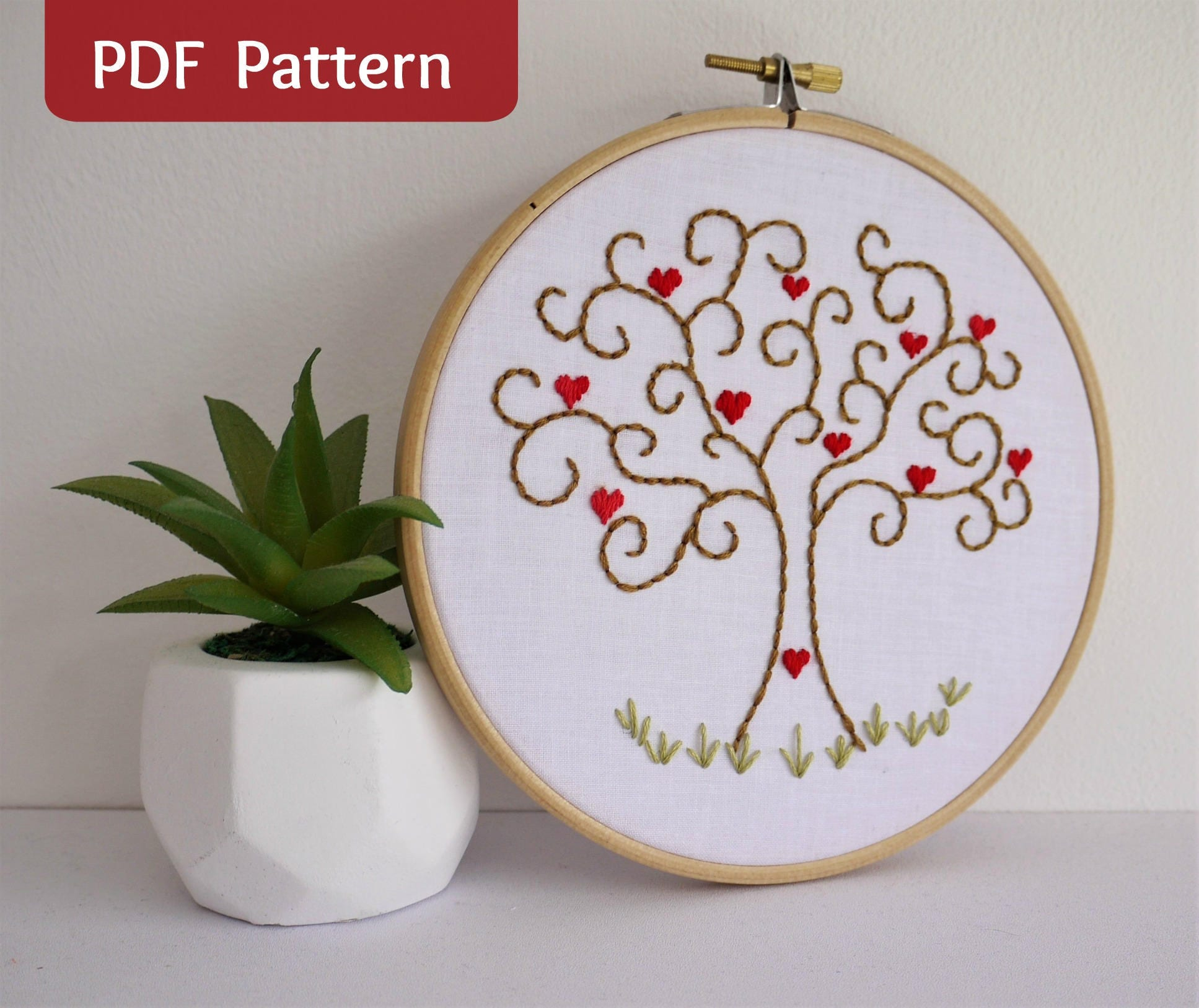 Heart of Hearts Tree PDF Embroidery Pattern and printable template ...