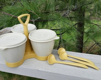 Tupperware Gold & Opaque Condiment Caddy with Spoons