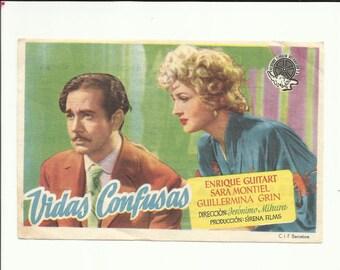 Free shipping-Vintage film flyer - Vidas confusas -1947 Spain - Sara Montiel