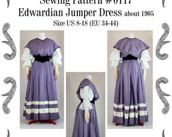 """Edwardianisches """"Jumper"""" Kleid um 1905 Schnittmuster  #0117 Größe EU 34-56 PDF Download"""
