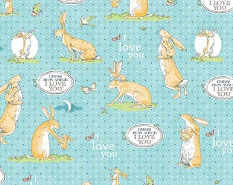 Fat Quarter Guess How Much I Love You 3 Blue Rabbit 100% Cotton Quilting Fabric