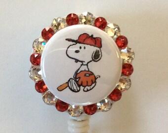 Snoopy Baseball Decorative Badge Holder with Charm
