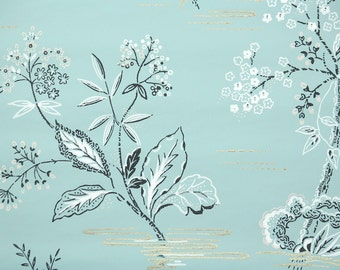 1950s Vintage Wallpaper by the Yard - Retro and Kitsch Black and White Flowers on Blue