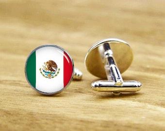 Flag of Mexico cufflinks, Mexican flag, custom national flag cufflinks, patriot cufflinks, round, square cufflinks, tie clip or matching set