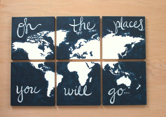 World map canvas oh the places you will go 6 12x12s like this item gumiabroncs Image collections