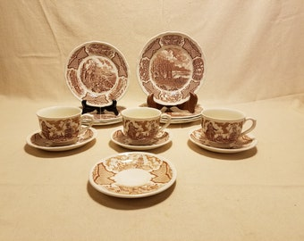 Vintage Alfred Meakin Brown Fair Winds 15pc Set
