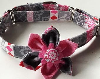 Pink and Gray Martingale Collar With Flower for Girl Dogs
