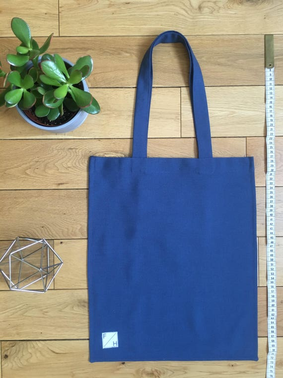 Mid Blue Cotton twill Tote bag