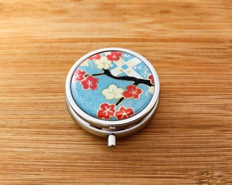 Round Silver Metal Pill Box - Yuzen/Chiyogami - 3 Compartments - Blossom Branches on Checkered Blue
