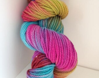 Hand Painted Corriedale/Rambouillet Yarn  200yds  2-Ply Worsted Wt  Multi Color