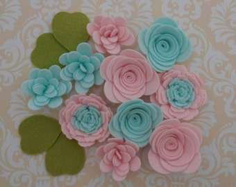Handmade Wool Felt Flowers, Barely Pink and Winter Breeze