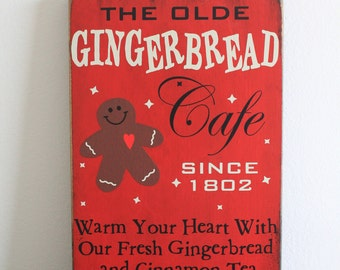 Gingerbread Cafe Sign/Hand painted/Red/Christmas Decor/Gingerbread Decor/Wood Sign/Red/Christmas Art