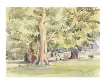Landscape watercolour sketch, PRINT evening scene in park, plein air green watercolor drawing. Outdoors sketch by Catalina.