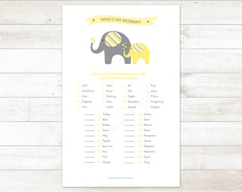 gender neutral baby shower game printable yellow elephant matching game who's my mommy baby shower digital games - INSTANT DOWNLOAD