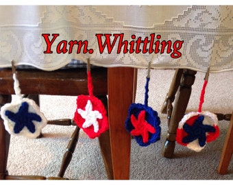 Crocheted table weights, tablecloth weights, July 4th tablecloth weights, July 4th Decor, Independence Day Decor, Picnic Tablecloth Weights