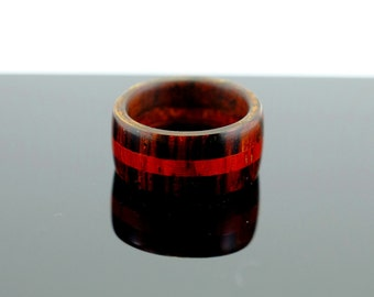 Brown and red wooden ring