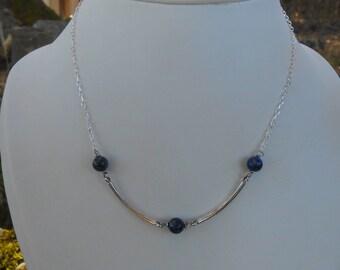 Necklace silver tubes 925, Pearl lapis lazuli, women gift, birthday, party