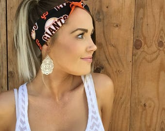 San Francisco Giants Dolly Bow Reversible Pinup Rockabilly Twist SF California Cali Baseball Headband Headscarf Hair Band Head Wrap
