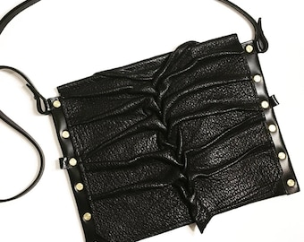 Black Genuine Leather Smocked Envelope Purse, Leather Envelope bag, Leather Envelope clutch, iPad Case/Purse