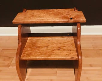 100% CHERRY WOOD Chair Stool with Flip-Open Top
