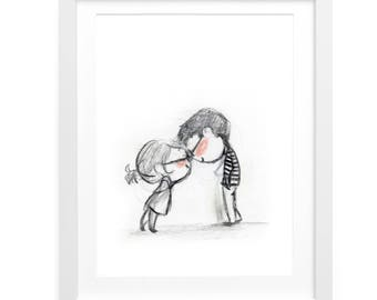 Clink illustration print - rosy pink cheeks nerds kissing - perfect gift for your love, a wedding, valentine, or anniversary