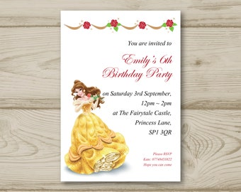 Disney Princess Belle Beauty and the Beast Birthday Party Invitations Personalised