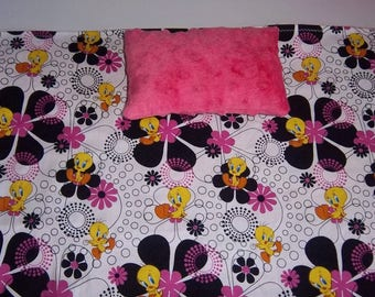Doll Blanket and/or Doll Play Mat, cute character and large flowers