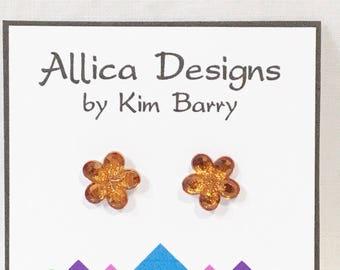 Earrings ~ Orange Flower Gem Earrings~  Free Shipping in the US