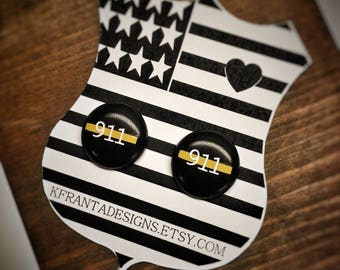 Thin Gold Line 911 Dispatcher earrings -acrylic stainless steel post back stud- Jewelry Emergency 911 Dispatcher