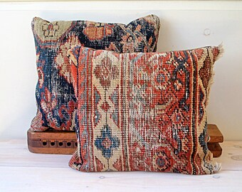 Persimmon Oriental Rug Pillows, Chocolate Backing, Gift Set