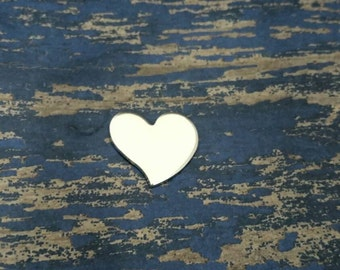 """Aluminum Tilted Heart 3/4"""" Stamping Blanks - Qty 25"""