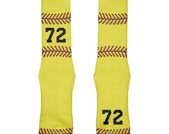 Custom Softball Your Number All Over Soft Socks