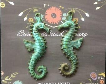 VERDIGRIS brass seahorse charms 1 pair