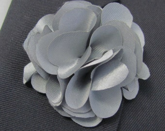 Silver Gray  Flower Boutonniere With 2 Inch Stick Lapel Pin
