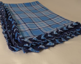 Blue Plaid Braided Fleece Blanket