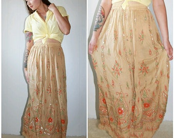 70s Indian Cotton Boho Beige with Orange and Green Detail Maxi Skirt